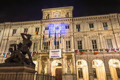 Turin City Hall by night Royalty Free Stock Images