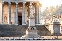 Turin city in Italy. Gran Madre church with Vittorio Emanuele statue in Turin city in Piedmont region in Italy royalty free stock photo
