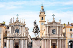 Turin city in Italy. Two similar churches on San Carlo square in the old city center of Turin city in Italy stock photo