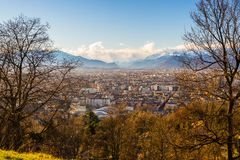 Turin cityscape from above at sunset Royalty Free Stock Photography