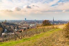 Turin cityscape, Torino, Italien på solnedgången, panorama från vingård Sceniskt färgrikt ljus och dramatisk himmel Royaltyfri Fotografi