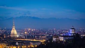 Turin et x28 ; Torino& x29 ; panorama élevé de définition avec la taupe Antonelliana Images stock