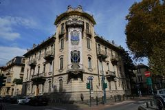 Turin The Fenoglio-Lafleur House. Turin,Piedmont Italy The Fenoglio-Lafleur House is a historic building in Turin, representing one of the most obvious royalty free stock images