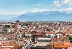 Turin flyg- sikt, Turin, Italien Arkivbild