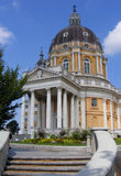 Turin. Front side of the Basilica of Superga built in baroc style by the italian architect Filippo Juvarra on the Superga Hill Stock Photography