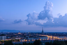 Turin high definition panorama with the Mole Antonelliana Stock Photography