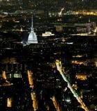 Turin with the illuminated  Mole Antonelliana Stock Photos