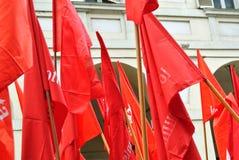 Turin, Itália - 1º de maio: demonstração para bandeiras vermelhas e bandeiras do Dia do Trabalhador Foto de Stock