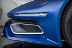 TURIN, ITÁLIA - 9 de junho de 2016 _A Quattroruote & IED Torino_Concept Car_Syrma na exposição na feira automóvel do ar livre de  Fotografia de Stock