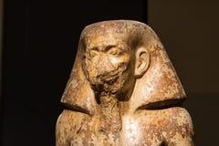 TURIN, IT?LIA - 25 de maio de 2019: Est?tua eg?pcia do regulador Wahka no museu de Egito - imagem imagem de stock royalty free