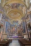 TURIN, ITÁLIA - 14 DE MARÇO DE 2017: A nave do Corpus Christi barroco do del da basílica da igreja Fotografia de Stock Royalty Free