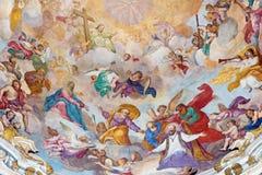 TURIN, ITÁLIA - 13 DE MARÇO DE 2017: O detalhe da cúpula do della Visitazione de Chiesa com a glória do fresco de St Francis das  Fotografia de Stock Royalty Free