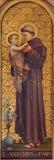 TURIN, ITÁLIA - 13 DE MARÇO DE 2017: A pintura de St Anthony de Pádua em di Santo Tomaso de Chiesa da igreja Imagens de Stock