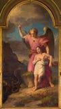 TURIN, ITÁLIA - 14 DE MARÇO DE 2017: A pintura do anjo da guarda na igreja Chiesa di San Francesco Fotos de Stock Royalty Free