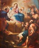 TURIN, ITÁLIA - 13 DE MARÇO DE 2017: O detalhe de pintura da natividade em di Santa Teresia de Chiesa da igreja por Sebastiano Co Imagens de Stock