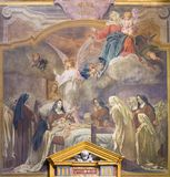 TURIN, ITÁLIA - 13 DE MARÇO DE 2017: O fresco a morte de St Theresia em di Santa Teresa de Chiesa da igreja por Rodolfo Morgari Fotos de Stock