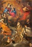 TURIN, ITÁLIA - 13 DE MARÇO DE 2017: A pintura de Madonna e de Jesus, com o st Philip Neri e arcanjo Michael no domo Foto de Stock Royalty Free