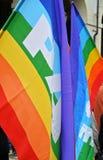 Turin, Itália - 2010: demonstração para bandeiras e bandeiras da paz do Dia do Trabalhador Fotos de Stock Royalty Free