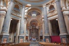 TURIN, ITALIE - 14 MARS 2017 : L'intérieur de l'église Basilica di Superga Photos libres de droits
