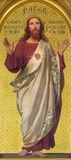 TURIN, ITALIE - 15 MARS 2017 : La peinture du coeur sacré de Jésus dans l'église Chiesa di San Dalmazzo par Enrico Reffo Image libre de droits