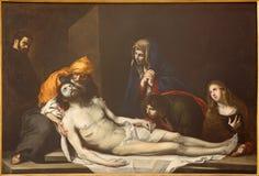 TURIN, ITALIE - 16 MARS 2017 : La peinture du dépôt du Pieta croisé en Di San Massimo de Chiesa d'église Image libre de droits