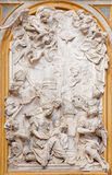 TURIN, ITALIE - 14 MARS 2017 : Le soulagement de marbre de la nativité de Vigin Mary par Francesco Moderati et Agostino Cornacchi Image stock