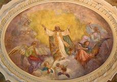 TURIN, ITALIEN - 14. MÄRZ 2017: Das Deckenfresko des Ruhmes von St Augustine in der Kirche Chiesa di Sant Agostino Lizenzfreies Stockbild