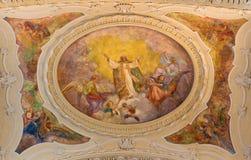 TURIN, ITALIEN - 14. MÄRZ 2017: Das Deckenfresko des Ruhmes von St Augustine in der Kirche Chiesa di Sant Agostino Stockbilder