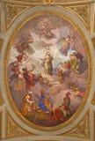 TURIN, ITALIEN - 14. MÄRZ 2017: Das Deckenfresko von Jungfrau Maria in Kirche Chiesa-dei Santi Martiri Stockfoto