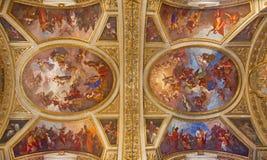 TURIN, ITALIEN - 14. MÄRZ 2017: Das Deckenfresko von Jungfrau Maria und Jesus Christ in Kirche Chiesa-dei Santi Martiri Lizenzfreie Stockfotografie