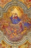 TURIN, ITALIEN - 14. MÄRZ 2017: Das Deckenfresko von Madonna unter den Engeln in der Kirche Chiesa di San Francesco Lizenzfreie Stockfotos