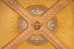 TURIN, ITALIEN - 15. MÄRZ 2017: Das Detail des Freskos auf der Decke in Kirche Basilika Maria Ausiliatrice Lizenzfreies Stockfoto