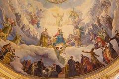TURIN, ITALIEN - 15. MÄRZ 2017: Das Detail des Freskos Mary Help der Christen in der Kuppel von Kirche Basilika Maria Ausiliatric Lizenzfreie Stockfotografie