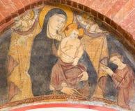 TURIN, ITALIEN - 14. MÄRZ 2017: Das Fresko der Ankündigung in der Kirche Chiesa di San Domenico Stockbild