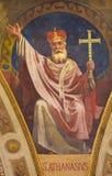 TURIN, ITALIEN - 15. MÄRZ 2017: Das Fresko von Doktor St. Athanas der Kirche in der Kuppel von Kirche Basilika Maria Ausiliatrice Lizenzfreie Stockfotografie