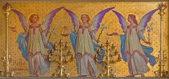TURIN, ITALIEN - 15. MÄRZ 2017: Das Fresko von Engeln im Presbyterium der Kirche Chiesa di San Dalmazzo durch Enrico Reffo Stockbilder