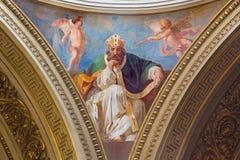 TURIN, ITALIEN - 16. MÄRZ 2017: Das Fresko von St Augustine in der Kuppel der Kirche Chiesa di San Massimo Paolo Emilio Volgari Lizenzfreie Stockfotos