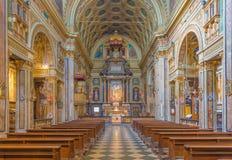 TURIN, ITALIEN - 14. MÄRZ 2017: Das Kirchenschiff der barocken Kirche Chiesa di San Carlo Borromeo Lizenzfreie Stockfotos
