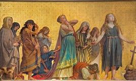TURIN, ITALIEN - 15. MÄRZ 2017: Das symbolische Fresko von heiligen Frauen confessants in der Kirche Chiesa di San Dalmazzo Lizenzfreie Stockbilder