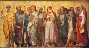 TURIN, ITALIEN - 15. MÄRZ 2017: Das symbolische Fresko von zwölf Aposteln in der Kirche Chiesa di San Dalmazzo durch Enrico Reffo Lizenzfreies Stockbild
