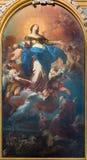 TURIN, ITALIEN - 16. MÄRZ 2017: Die Malerei von Jungfrau Maria mit Prophet Elija in Kirche Chiesa-della Madonna Del Carmine Stockbild
