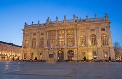 TURIN, ITALIEN - 14. MÄRZ 2017: Palazzo Madama an der Dämmerung Stockfotos