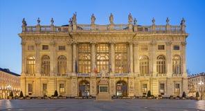 TURIN, ITALIEN - 14. MÄRZ 2017: Palazzo Madama an der Dämmerung Stockfotografie