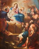 TURIN ITALIEN - MARS 13, 2017: Detaljen av målning av Kristi födelse i kyrkliga Chiesa di Santa Teresia av Sebastiano Conca 1730 Arkivbilder