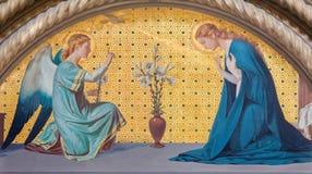 TURIN ITALIEN - MARS 15, 2017: Freskomålningen av förklaringen i kyrkliga Chiesa di San Dalmazzo av Luigi Guglielmino Royaltyfri Foto
