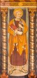 TURIN ITALIEN - MARS 14, 2017: Freskomålningen av St Peter aposteln i kyrkliga Chiesa di San Domenico och Capella delle Grazie Fotografering för Bildbyråer