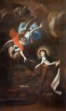 TURIN ITALIEN - MARS 13, 2017: Målningen av den Santa Teresa för di Trasverberazione för mystisk erfarenhet d'Avilaen 1640 Arkivbilder