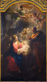 TURIN ITALIEN - MARS 13, 2017: Målningen av Kristi födelse i Duomo av Giovanni Comandu da Mondovi 1795 Royaltyfri Fotografi