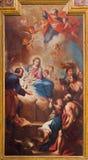 TURIN ITALIEN - MARS 13, 2017: Målningen av Kristi födelse i kyrkliga Chiesa di Santa Teresia av Sebastiano Conca 1730 Arkivbild