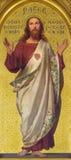TURIN ITALIEN - MARS 15, 2017: Målningen av sakral hjärta av Jesus i kyrkliga Chiesa di San Dalmazzo av Enrico Reffo royaltyfri bild